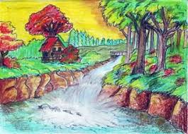 Natural Colour Pencil Art Senary Drawn Scenic Colored
