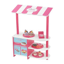 18 inch Doll Furniture Pink and White Bakery Stand with Baked