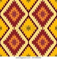 Seamless Pattern Turkish Carpet Yellow Beige Orange Brown Patchwork Mosaic Oriental Kilim Rug With