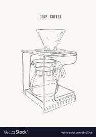 Filter Drip Coffee Machine Sketch Vector Image