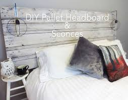 DIY One Pallet Whitewashed Headboard With Sconces Via Thesimplyinspiredblog