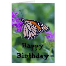 Monarch on Purple Flower Happy Birthday Card