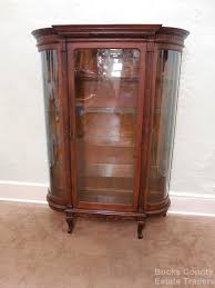 antique victorian oak bowed glass china curio cabinet victorian