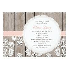 Blush Wood Lace Rustic Bridal Shower Invitation Card