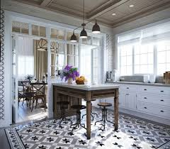 Black Pendant Lamps And Antique Floor Tile Patterns For Special Kitchen Ideas With White Cabinet