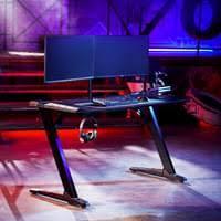schwarz 121x61cm gamingtisch gaming tisch computer schreibtisch computertisch gamer tisch racing z träger led integriert tisch