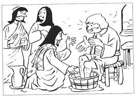 Drawings To Color Easter Week Jesus Washes The Feet Of His Disciples
