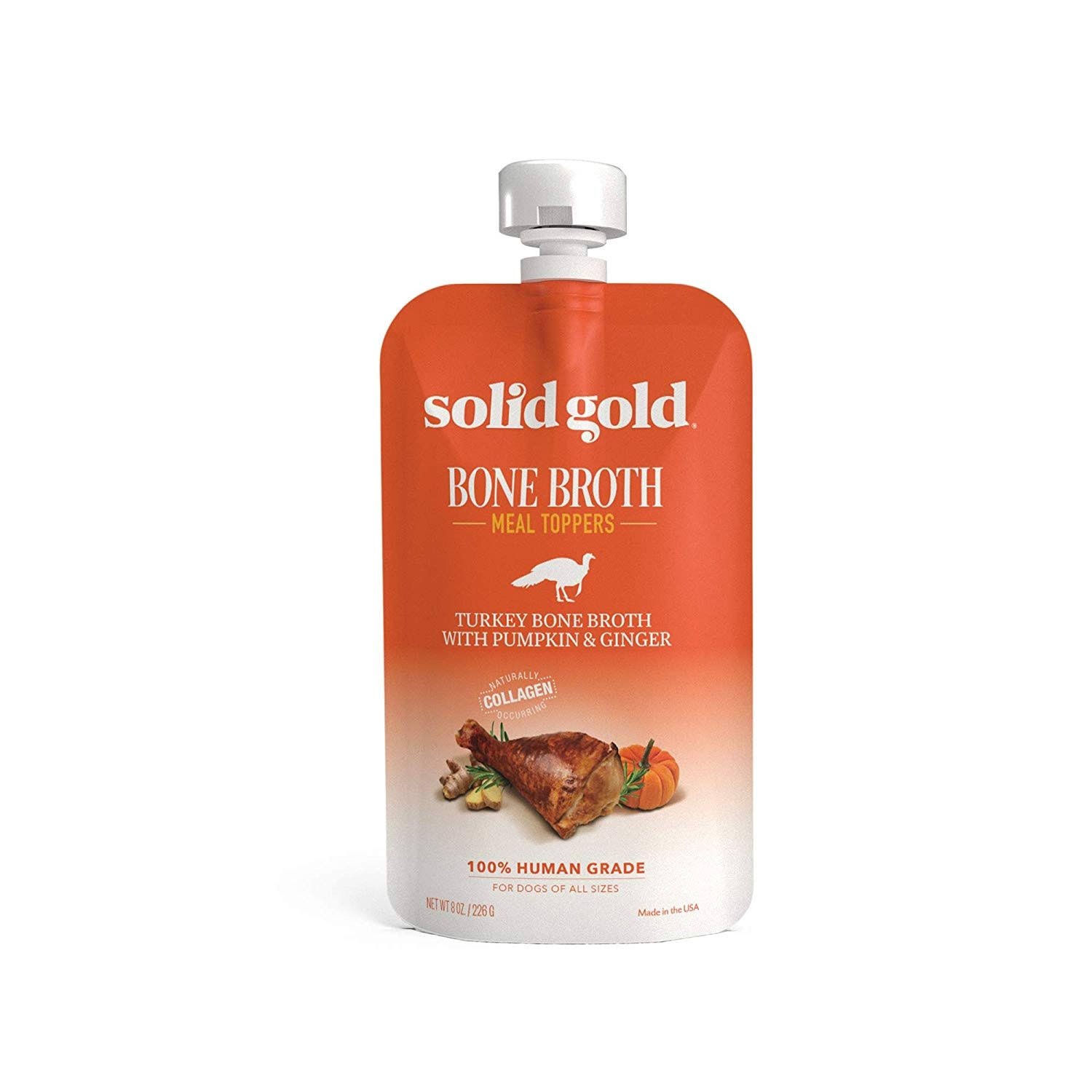 Solid Gold Turkey Bone Broth with Pumpkin & Ginger Dog Food Topper 8oz