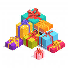 Pile of colorful present and t boxes
