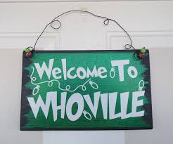 Whoville Christmas Tree Topper by Welcome To Whoville Hanging Door Sign The Grinch Hanging Door