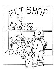 Pet Shop Coloring Page For Kids Animal Pages Printables Of