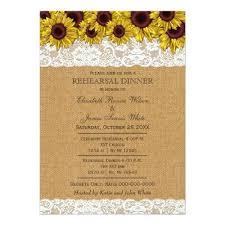 Sunflower Wedding Rehearsal Dinner Burlap Rustic Sunflowers Invites