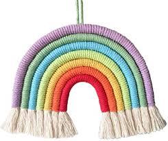 fxikun wandteppich regenbogen bommel schlafzimmer dekorativ baumwollgarn makramee aus 7 geflochtenen kordeln