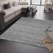 wohnzimmer teppich grau beige braun kurzflor meliert modern