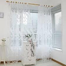 coloré tm fenster vorhänge gardinen mit motiv und ösen für türen esszimmer 200 cm x 100 cm weiß