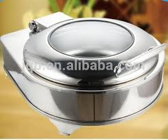Electric Heating Stainless Steel Chafing Dish With Round Glass Lid