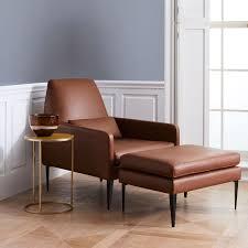 smythe leather chair west elm