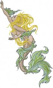 Fantasy Embroidery Design Nude Mermaid from Machine Embroidery