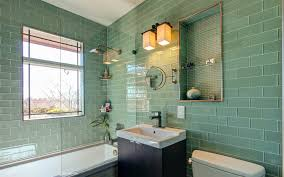 green glass subway with green herringbone tile kitchen traditional