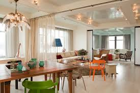 Chic Overstock Curtains Vogue Other Metro Contemporary Dining Room Decorators With Accent Table Area Rug Armchairs Beamed Ceiling Lighting