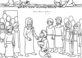 Jesus Heals Paralyzed Man Coloring