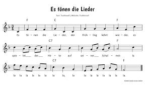 es tönen die lieder text noten zum mitsingen