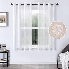 mrtrees voile vorhänge halbtransparent vorhang kurz im blumen stickerei modernen wohnstil sheer gardinen weiß 175 140cm h b für wohnzimmer