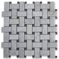 carrara white 1x2 basketweave mosaic tile w black dots honed