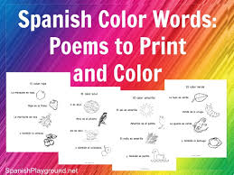 Spanish Color Words Rhymes To Print And
