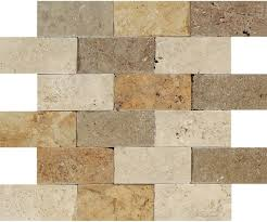 mixed travertine brick ivory noce gold 2x4 split faced