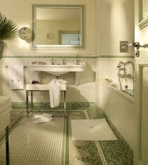 bathroom set ideas with cool green and white mosaic floor tile