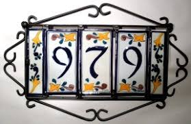 house number tile and frames latin accents