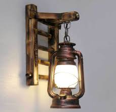 Chinese Styl Bamboo Ladder Wall Lamps Vintage Barn Lantern Rustic Style Indoor Sconces