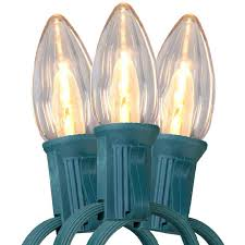 25 warm white led c9 light strand green wire