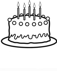 black and white cartoon birthday cake clipart