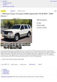 For $4,500, Is This Five-Speed 1999 Isuzu Trooper Super-Duper? Craigslist Phoenix Az Cars For Sale By Owner Best Car Specs U0026 Used Baby Cribs Fniture Auto Dealership Closed After Owners Admit Fraud Pleasure Way Class Bs 281 Rv Trader Reviews 1920 By Lifted Trucks Az Truckmax Imgenes De Phx And Vehicle Dealership Mesa Motors Liberty Bad Credit Loan Specialists Arkansas 2018