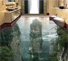 rutschfester 3d pvc bodenbenutzerdefinierte 3d malerei boden tapete pvc klebstoff peak cliff wohnzimmer badezimmer 3d boden malerei moderne aufkleber