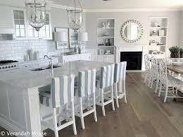 White On Coastal Kitchen With Blue And Striped Barstools