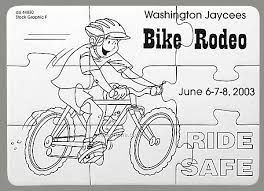 9 Piece Coloring Puzzle With Crayons Bike Safety