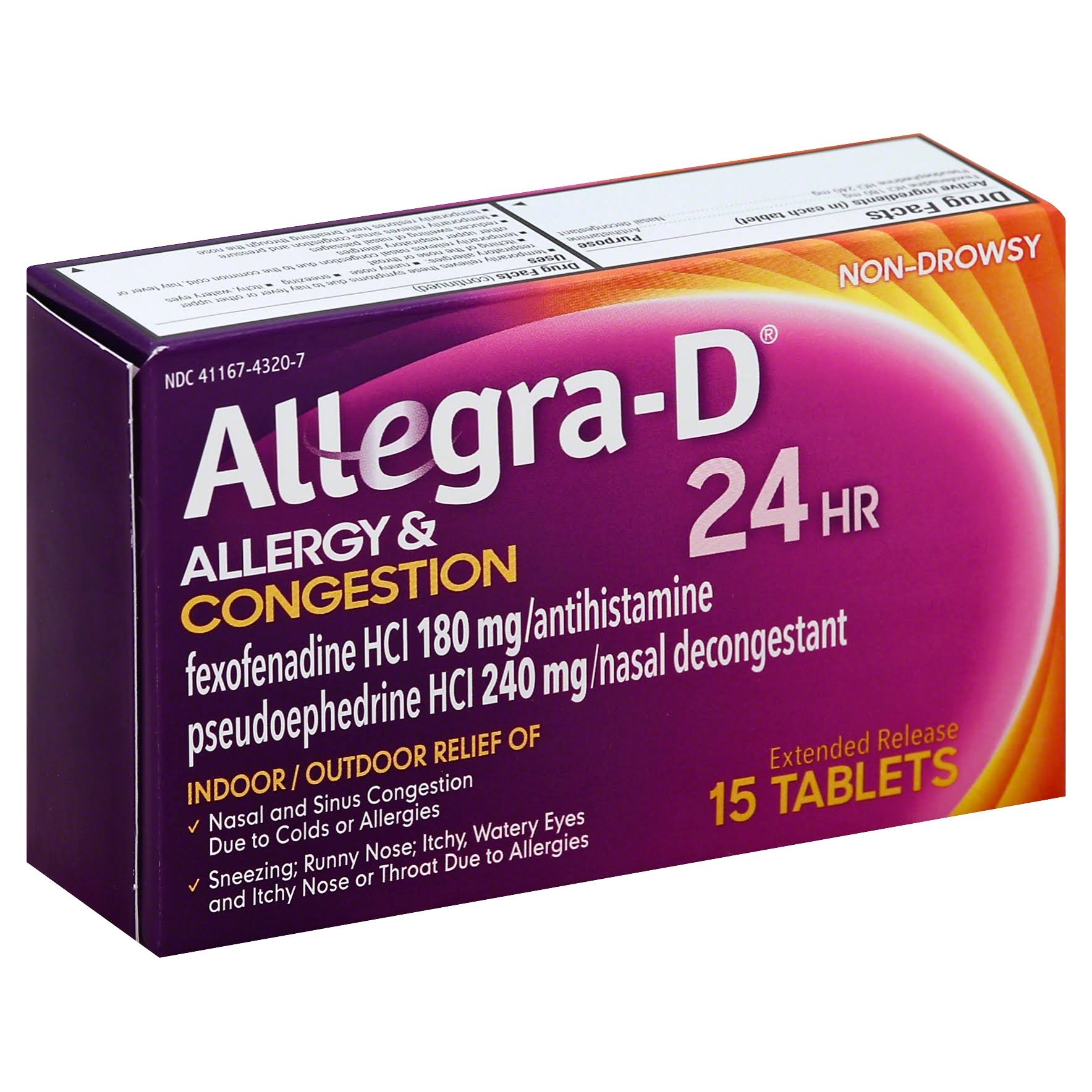 Allegra D Allergy & Congestion, 24 HR, Extended Release Tablets - 15 tablets