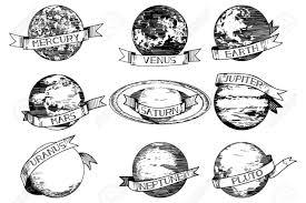 Vector Illustration Set Solar System Planets Mercury Venus