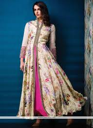 lordly print georgette designer gown floral ethnic
