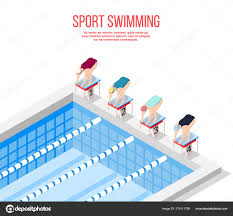 Olympic Pool Swimming Background Stock Vector