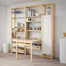 ivar 3 section unit with foldable table pine white ikea