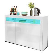 yoleo küchenschrank sideboard mit led leuchte anrichte matt hochglanz für küche esszimmer wohnzimmer weiß 130 x 88 cm