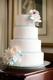 Vintage Inspired Wedding Cake Tiffany Blue Trim