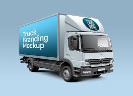 100 Free Truck White Cube Branding Mockup PSD Good Mockups