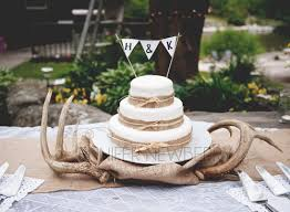Rustic Vintage Wedding Cake With Deer Antlers Jnphotographyca Filemanager