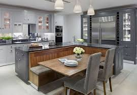 Beautiful Kitchen With Black And Wood Design Island Booth Table Combo