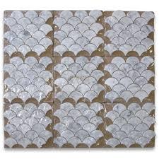 carrara marble tile italian white grand fish scale fan